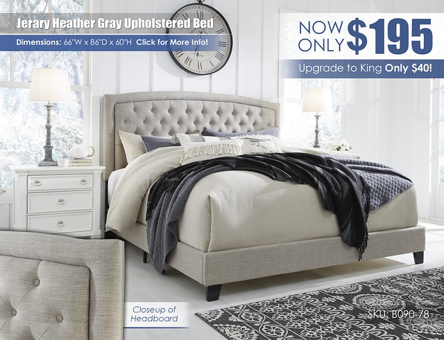 Jerary Heather Gray Upholstered Bed by Ashley_B090-782