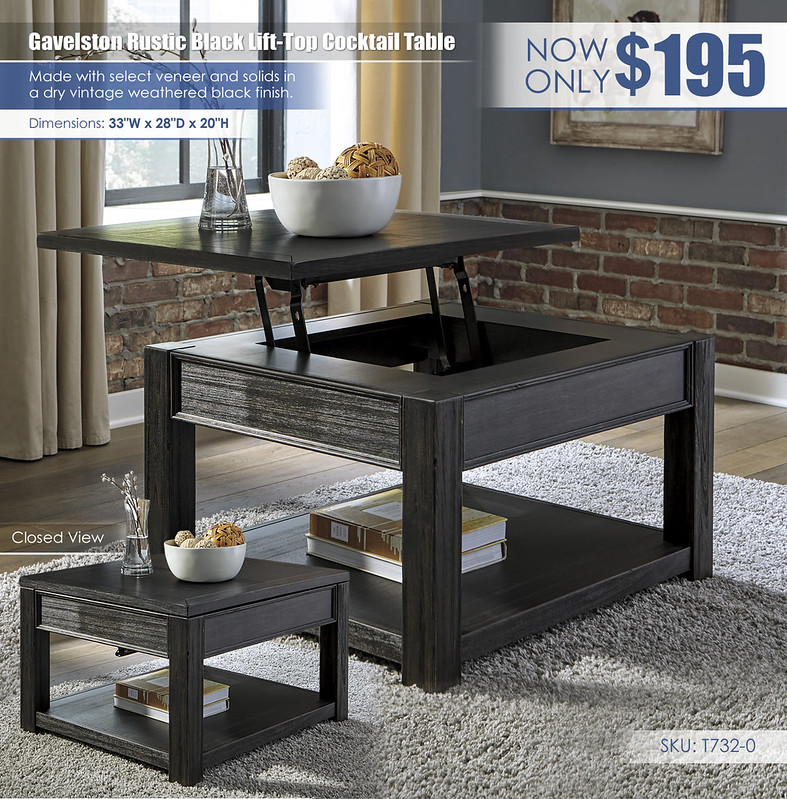 Gavelston Rustic Black Lift Top Cocktail Table_T732-0-OPEN