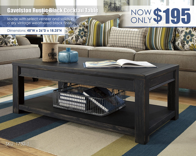 Gavelston Rustic Black Coffee Table_T732-1