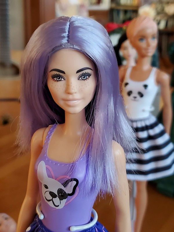 Been sick as a dog since the 5th.  No other new pics other than these, taken back when I did my last Color Reveal and got this cute Frenchie.  The wigs are awful but it amused me to see her with purple hair.