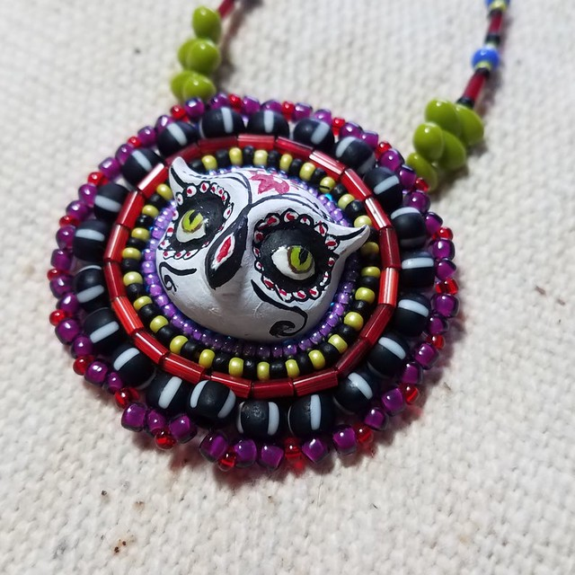 Day of the Dead Owl Pendant