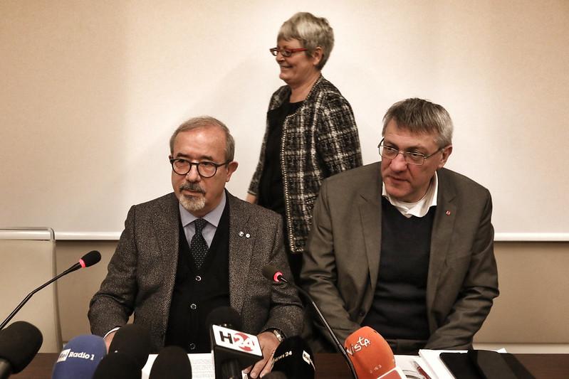 Conferenza stampa segretari generali di Cgil, Cisl e Uil