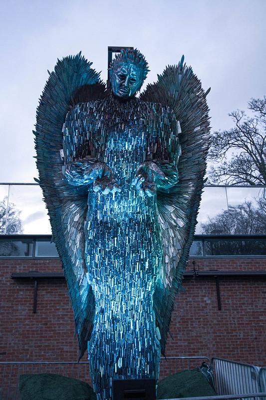 knife angel, blue light