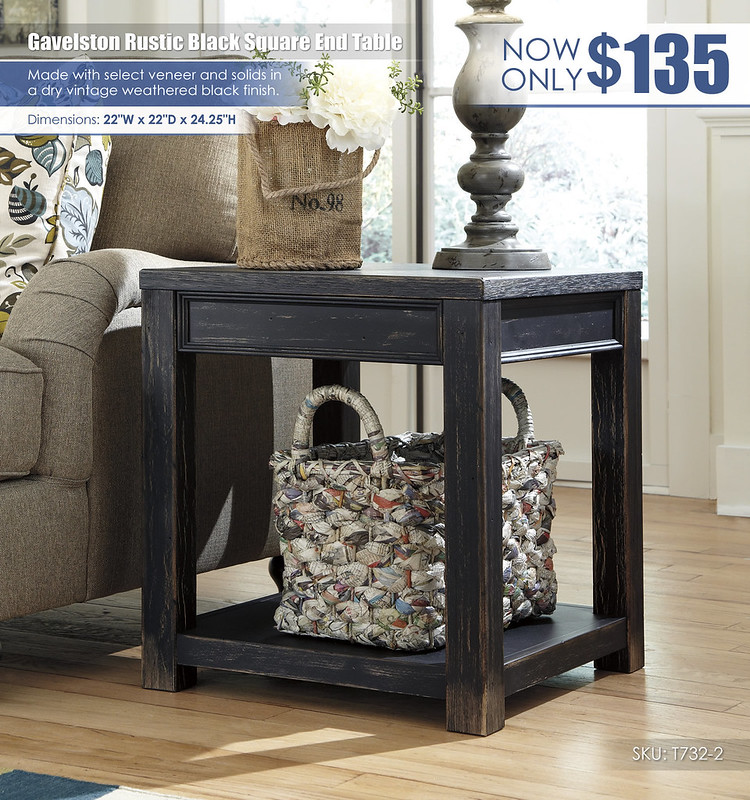 Gavelston Rustic Black Square End Table_T732-2