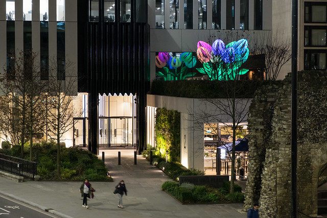 Giant tulips above London Wall