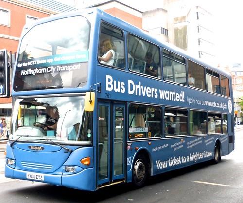 YN07 EYZ 'Nottingham City Transport' No. 761 'Bus Drivers wanted'. Scania N94UD / East Lancs Omnidekka on Dennis Basford's railsroadsrunways.blogspot.co.uk'