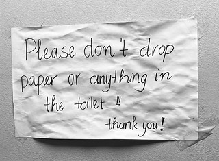 """""""Please don't drop paper or anything in the toilet!"""""""