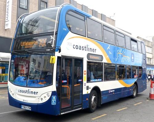 YN64 XSM 'Stagecoach South' No. 15985 '700 Coastliner'. Scania N230UD / Alexander Dennis Ltd. Enviro 400  on Dennis Basford's railsroadsrunways.blogspot.co.uk'.