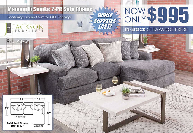 Mammoth Smoke 2PC Sofa Chaise RAF_4376_InStockSpecial_wDimensions