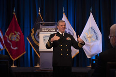 Vice Adm. Richard A. Brown delivers remarks at the Surface Navy Association's 32nd National Symposium. (U.S. Navy/MC2 Daniel C. Coxwest)