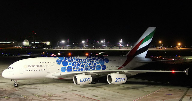 Emirates, A6-EVH, MSN 0257, Airbus A 380-842, 13.01.2020,HAM-EDDH, Hamburg (Expo 2020 Dubai Blue livery)