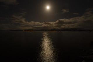 Moon over silver sea