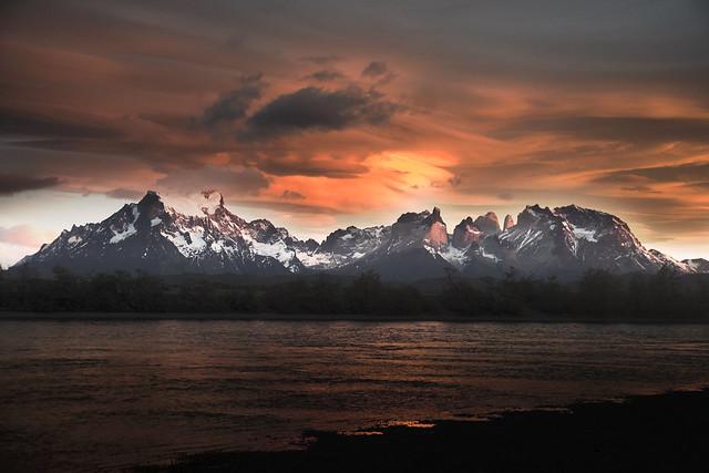 Torres del Paine and Serrano River Sunrise - Patagonia Chile