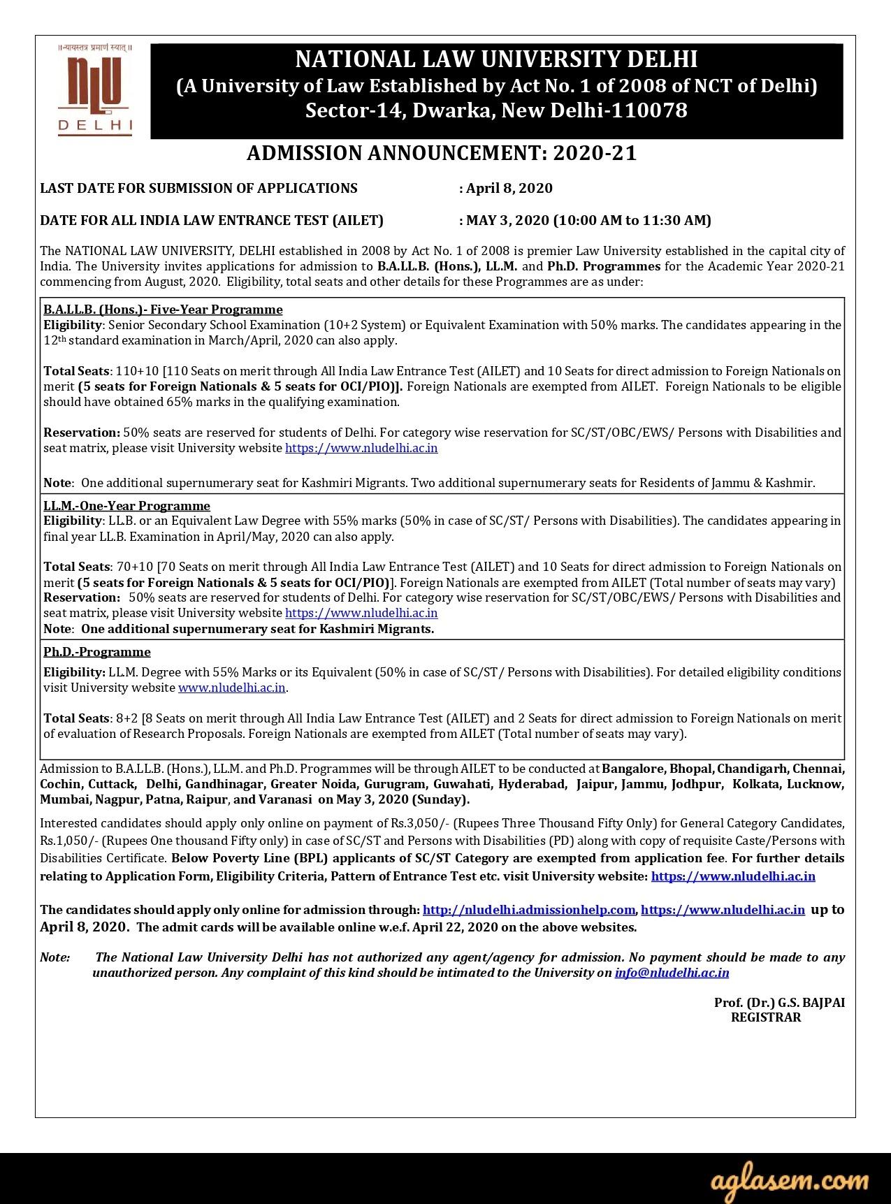 AILET 2020 Admission Announcement