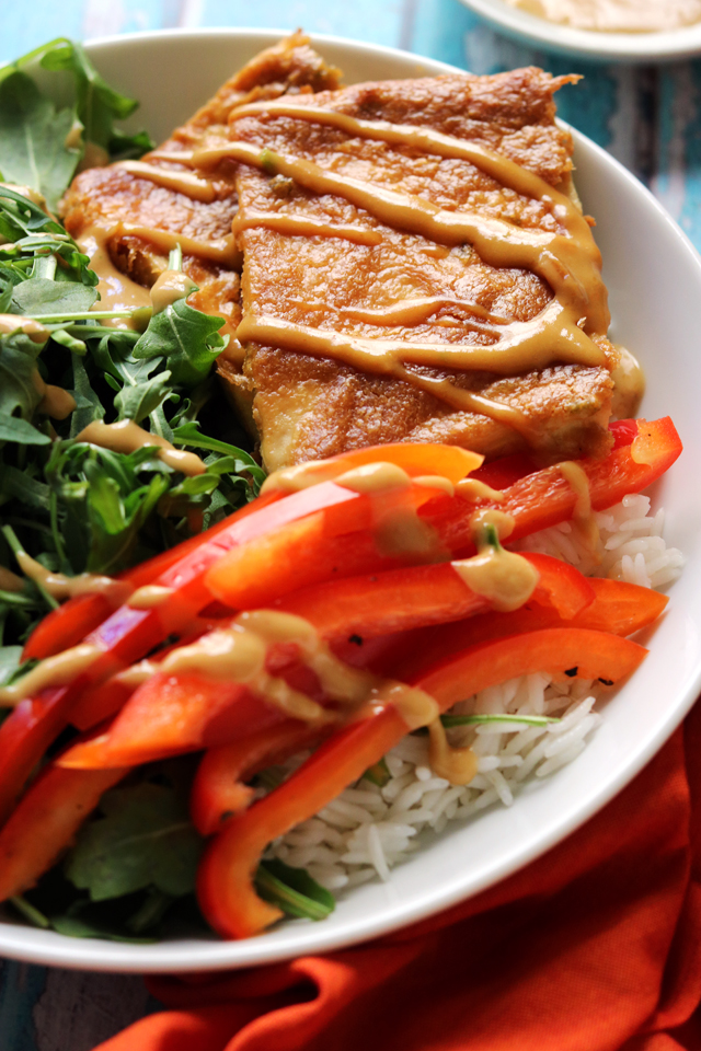 Baked Tofu with Peanut Sauce, Pickled Peppers, and Coconut Lime Rice