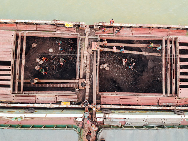 Drone View of Coal Ship Being Unloaded, Sadarghat Chittagong Bangladesh