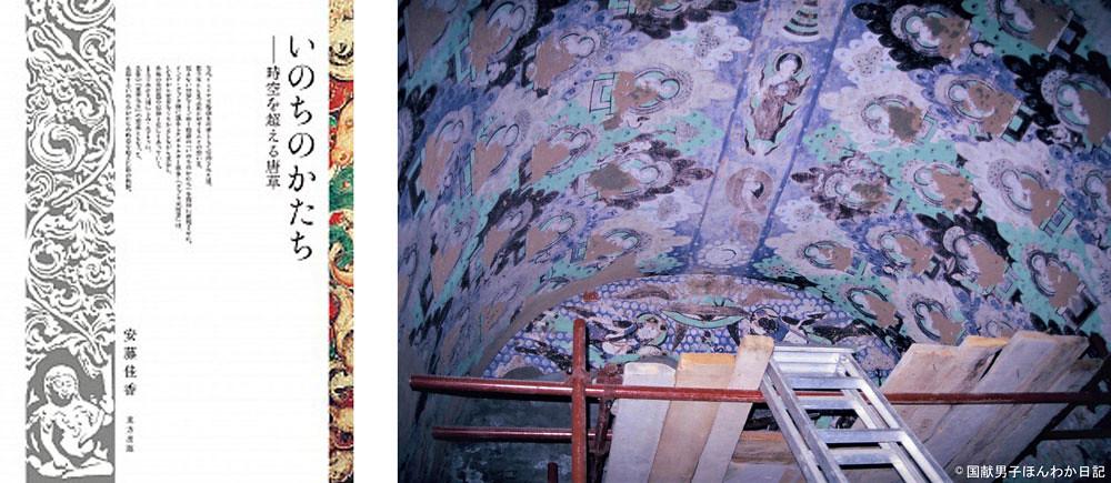 『いのちのかたち…』表紙  諸氏の浄財で保存工事中のキジル千仏洞第8窟(1989年頃撮影:筆者)