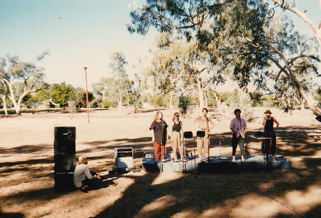 MNA performing in Todd River bed at Alice Springs National FF - easter 1987