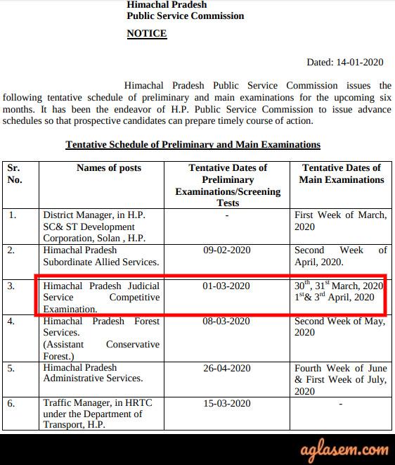 Himachal Pradesh Judicial Services Himachal Pradesh Judicial Services 2020: Mains Exam Postponed, Preliminary Result Out