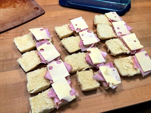 assembling baked sandwiches