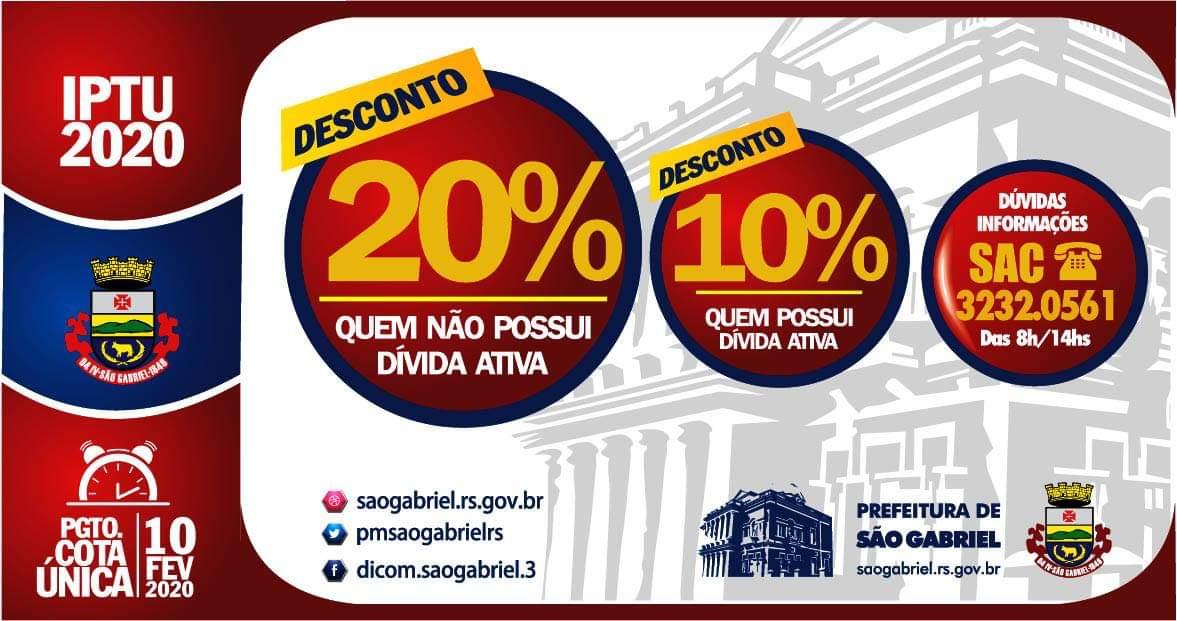 Pague o IPTU 2020 em São Gabriel e tenha descontos até 10 de fevereiro!