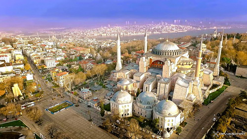 aerialphoto bosphorus dronephoto historicalpeninsula istanbul sultanahmetsquare sunset thehagiasophiamosque türkiye