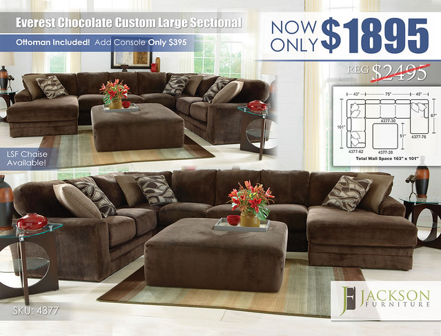 Everest Chocolate Large Custom Sectional_4377_Jackson Catnapper