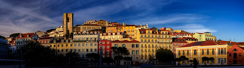 lisbon portugal skyline building house architecture window façade winter afternoon sky sun blue clouds street panorama town downtown urban cityscape historical evening sunset