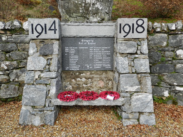 Glengarry War Memorial, Invergarry, Dec 2019