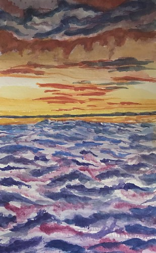 sunset sky clouds ocean flying shawnshawn 2020 inktense