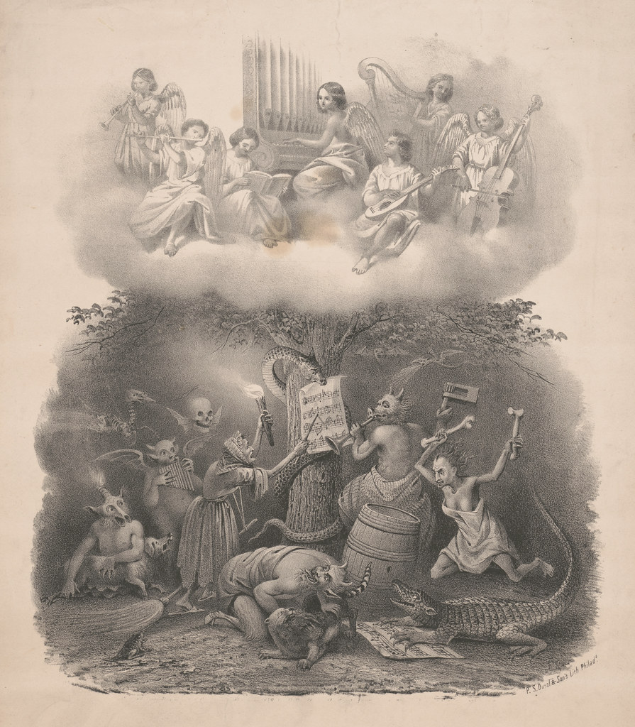 James Fuller Queen : P.S Duval and Son - Angels playing music in heaven, harpies playing music in Hell, 1857-67