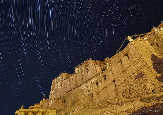 Startrail over Leh Palace