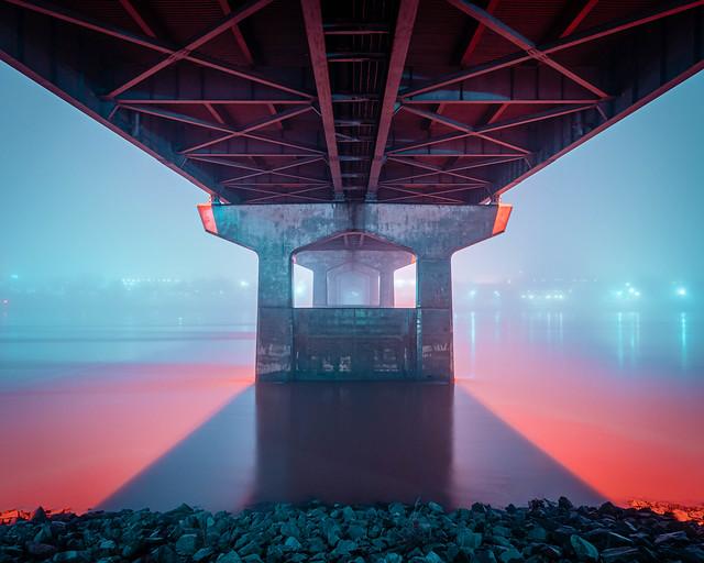 Main Street Bridge in Fog No. 1. North Little Rock, Arkansas. 2020.
