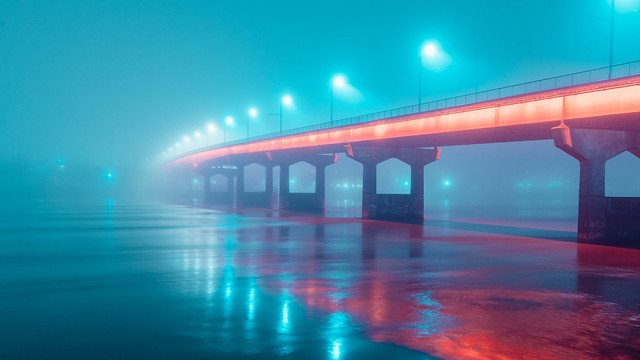 Main Street Bridge in Fog No. 02. North Little Rock, Arkansas. 2020.