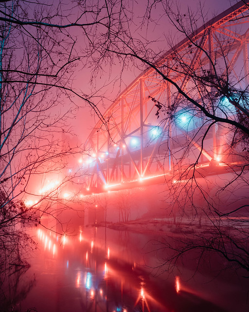 Night Bridge in Fog No. 02. Little Rock, Arkansas. 2020.