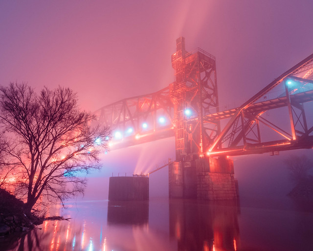 Night Bridge in Fog No. 03. Little Rock, Arkansas. 2020.