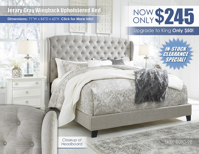 Jerary Gray Wingback Upholstered Bed by Ashley_B090-982