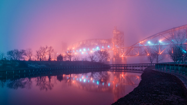 Night Bridge in Fog No. 04. Little Rock, Arkansas. 2020.