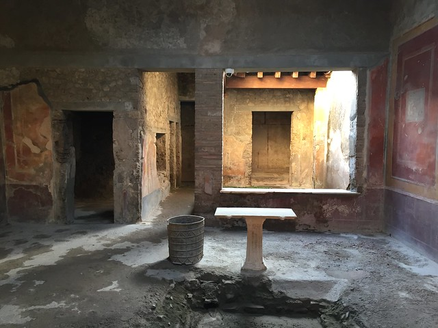 Excavated first century home in Pompeii, Italy.