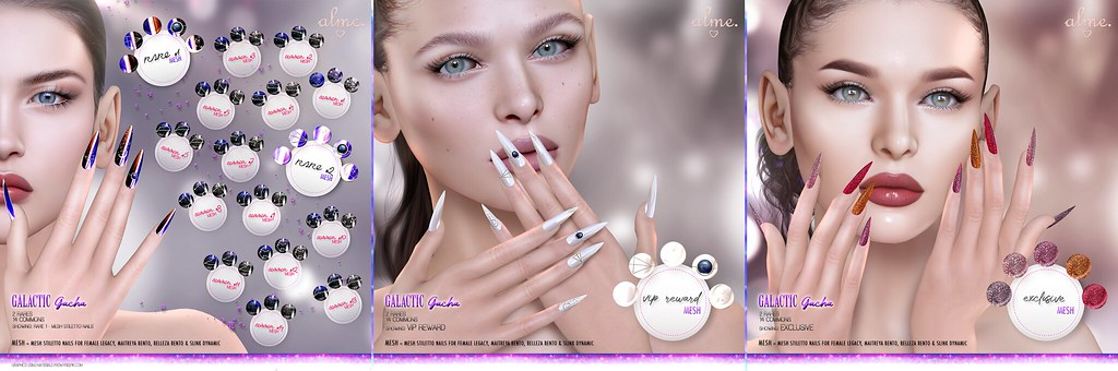 "Alme for the Epiphany – ""Galactic"" Mesh Stiletto Nails Gacha Set"