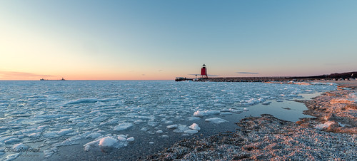 charlevoix michigan pentax pentaxk1 unitedstates ice water beach lighthouse ship dusk sunset