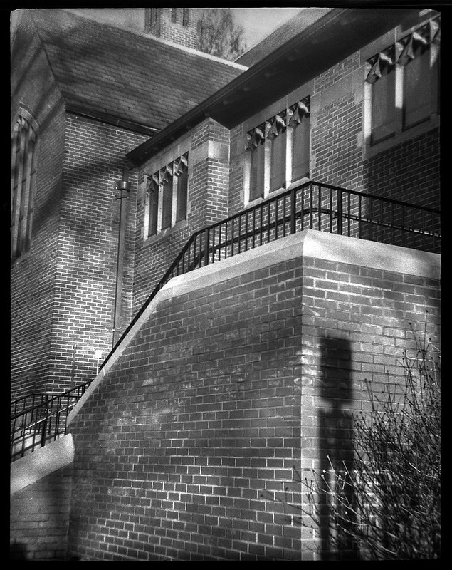 architectural forms and movements, cast shadows, exterior, Trinity Episcopal Church, Asheville, NC, Ferrania Tanit, Ilford HP5 Plus, HC-110 developer, 1.13.20