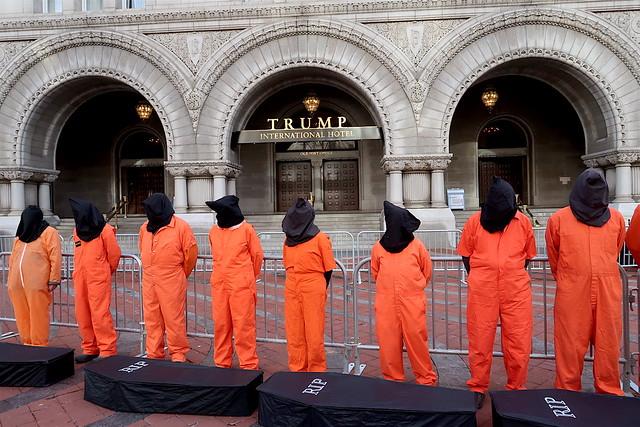 Guantanamo campaigners at the Trump International Hotel