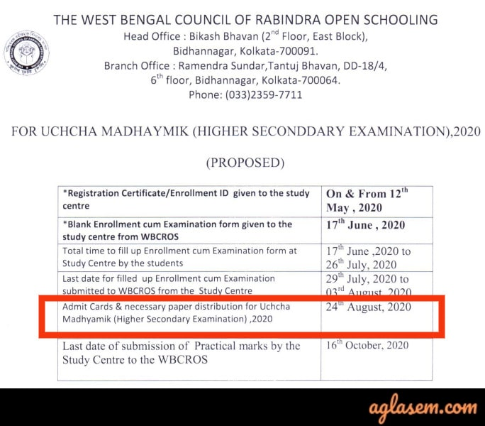 Rabindra Open Schooling HS Admit Card 2020