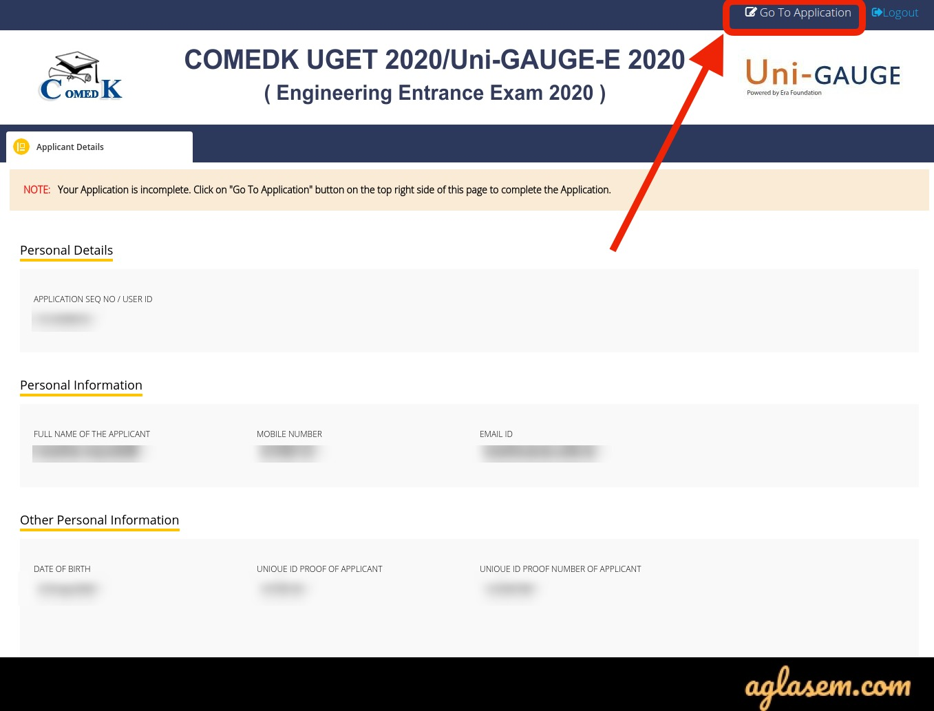 COMEDK 2020 Application Form - Edit Facility (Started)