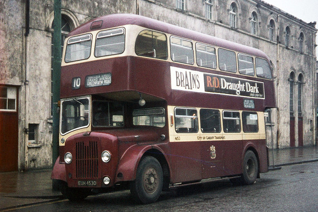 Cardiff Corporation Transport . 453 EUH453D . Wood Street , Cardiff . Saturday 10th-January-1970 .