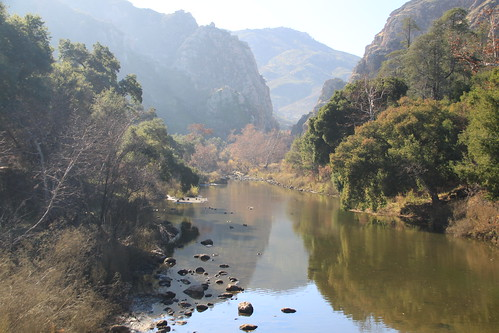 Malibu Creek State Park, just 1000 feet west from Calabasas corner of Mulholland HWY and Las Virgenes Rd, features hiking, fishing, bird watching, mountain biking, rock climbing, running, and horseback riding opportunities.