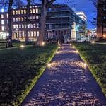 Illuminated path at Winckley Square in Preston