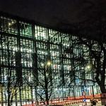 Illuminated new university building at Preston