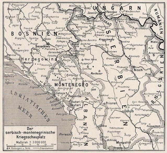 WWI map of Balkan theatre